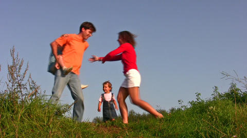 family of four play on meadow Stock Video Footage