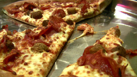 knife and pizza Stock Video Footage