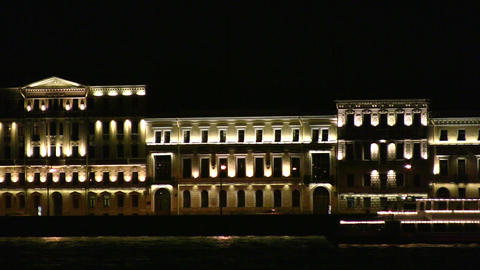 night ship on Neva Stock Video Footage