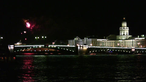 fireworks on Neva Stock Video Footage