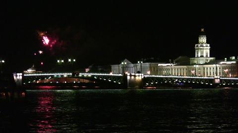 fireworks on Neva Stock Video Footage