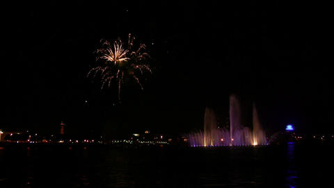 fireworks and fountain on Neva Stock Video Footage