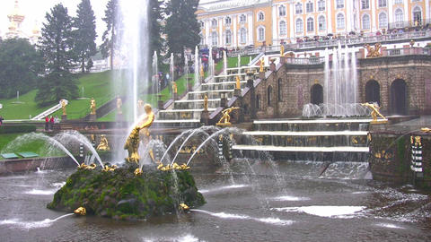 Samson and the Lion Fountain, Peterhof, Russia Footage