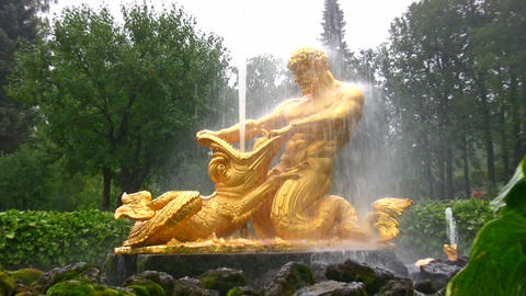 fountain. Peterhof. Petersburg. Zoom Stock Video Footage