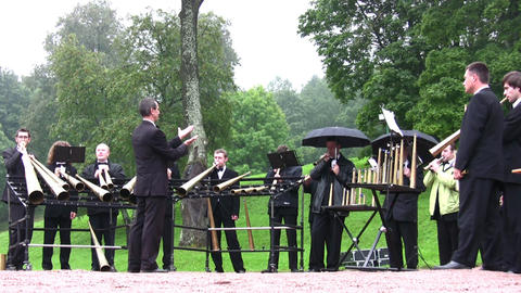 PETERHOF, RUSSIA - SEPTEMBER 5: Horns orchestra September... Stock Video Footage