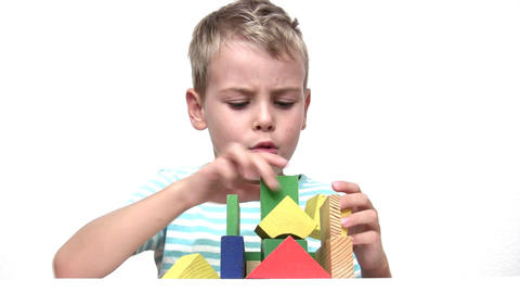 child with wood toy cubes Stock Video Footage
