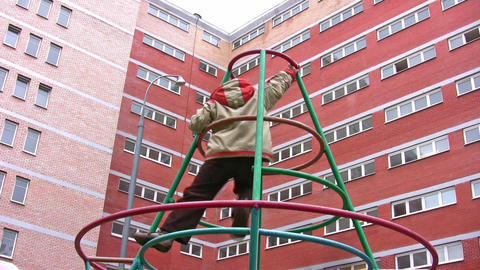 boy climb on playground Stock Video Footage