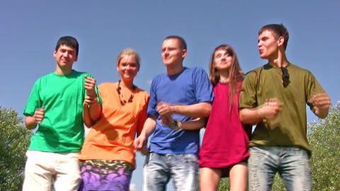 dancing friends on sky Stock Video Footage
