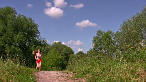 sport woman running in park Stock Video Footage