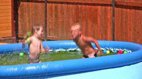 children in pool Stock Video Footage