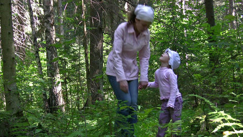 mother with girl in wood Stock Video Footage