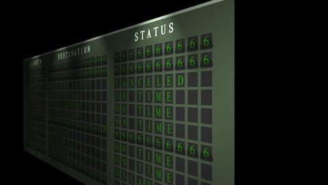 Airport flight destination board showing status Animation