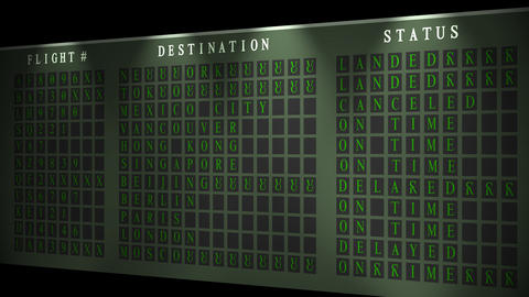 Airport flight destination board showing status Stock Video Footage