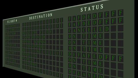 Airport flight destination board showing status Stock Video Footage