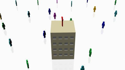 Person on apartment surrounded by others - Human Resources Animation