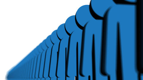 hLine of blue people - Human Resources Stock Video Footage