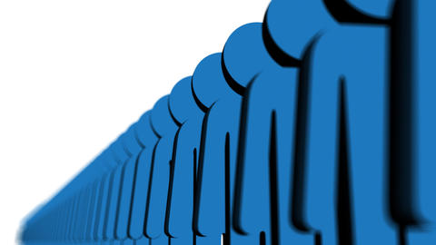 hLine of blue people - Human Resources Animation