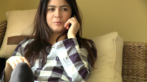 Talkative woman calling by phone Footage