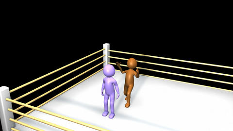 3D men fighting on a boxing ring Animation
