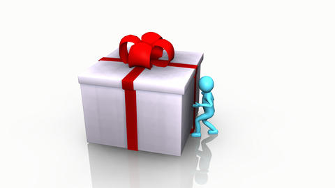 Curious 3D Man Opening A Gift Box stock footage