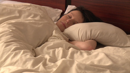 Portrait of pretty woman sleeping Footage
