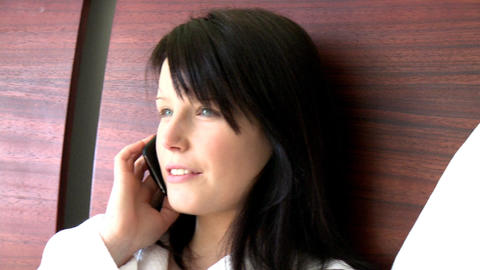 Portrait of a bright woman talking on phone Stock Video Footage