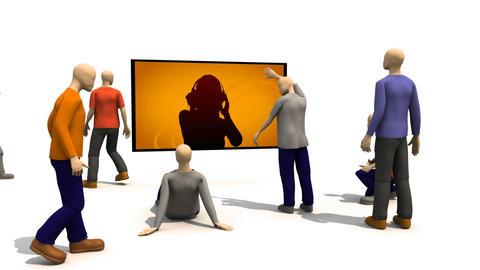 3D men enjoying music Stock Video Footage