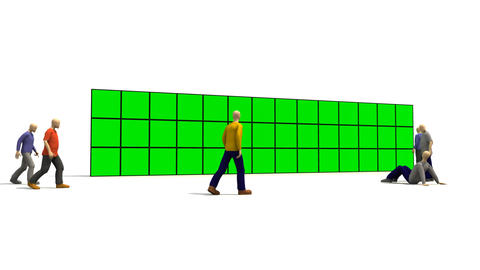 3D men in front of a green screens Animation