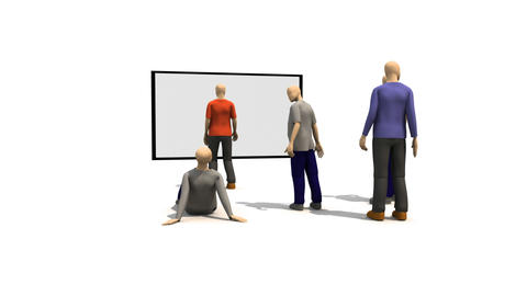 3D men presenting young people dancing Animation