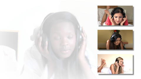 Stock animation showing women listening music Animation