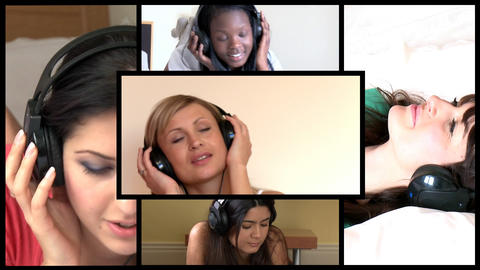 Stock animation of attractive women listening music Animation