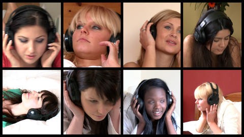 Stock animation of lively women listening music Animation