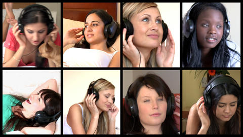 Stock animation of diverse women listening music Animation