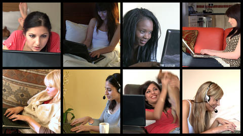 Stock animation showing multiethnic women using a laptop Animation