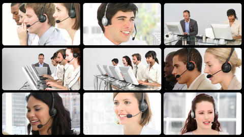 Several service customer agents at work Animation