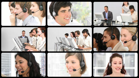 Several service customer agents at work Stock Video Footage