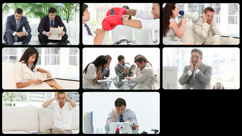 Montage presenting stressed people at work Stock Video Footage