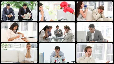 Montage presenting stressed people at work Stock Video Footage