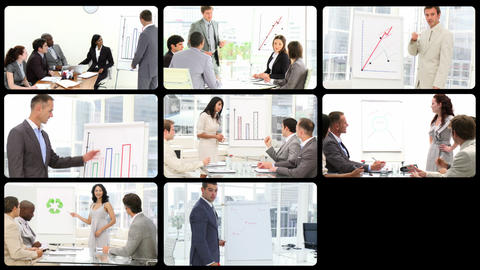 Portraits of business people doing presentation Footage