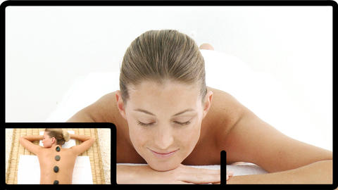 Montage of a pretty woman relaxing in a spa center in HD Animation