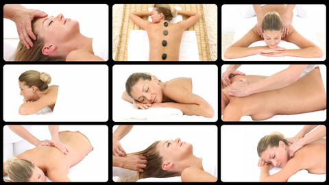 Montage presenting a blond woman having spa treatments Animation