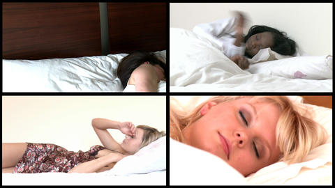 Animation of young women sleeping lying on bed Footage