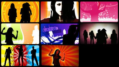 Stock animation presenting animated people on the dancefloor Stock Video Footage