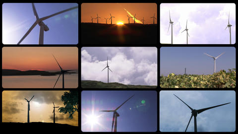 Montage footage of wind turbines Animation