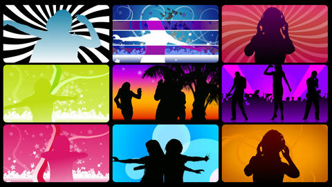 Montage footage presenting silhouettes dancing Animation