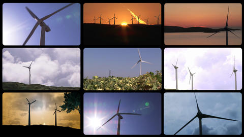3D montage the wind power Animation