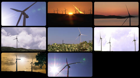 3D montage presenting the concept of wind power Animation