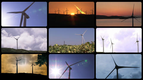 3D montage presenting the concept of wind power Stock Video Footage