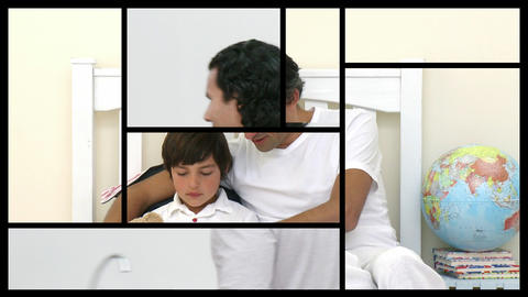 Stock animation of a man taking care of his family Stock Video Footage