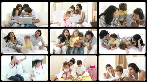 Montage of mirthful families having fun Animation